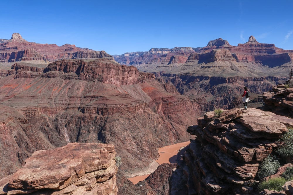 Hiker at Plateau Point, Grand Canyon National Park, a spectacular UNESCO World Heritage Site in America