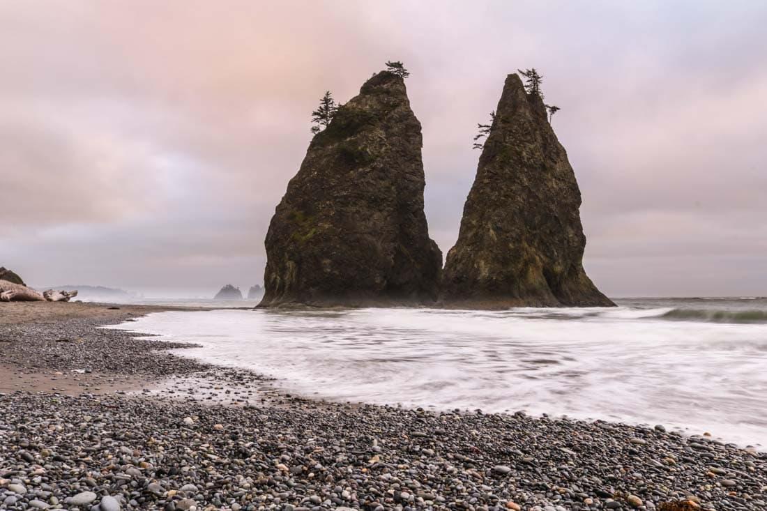 Rialto Beach sea stacks in Olympic National Park, Washington, a UNESCO World Heritage Site