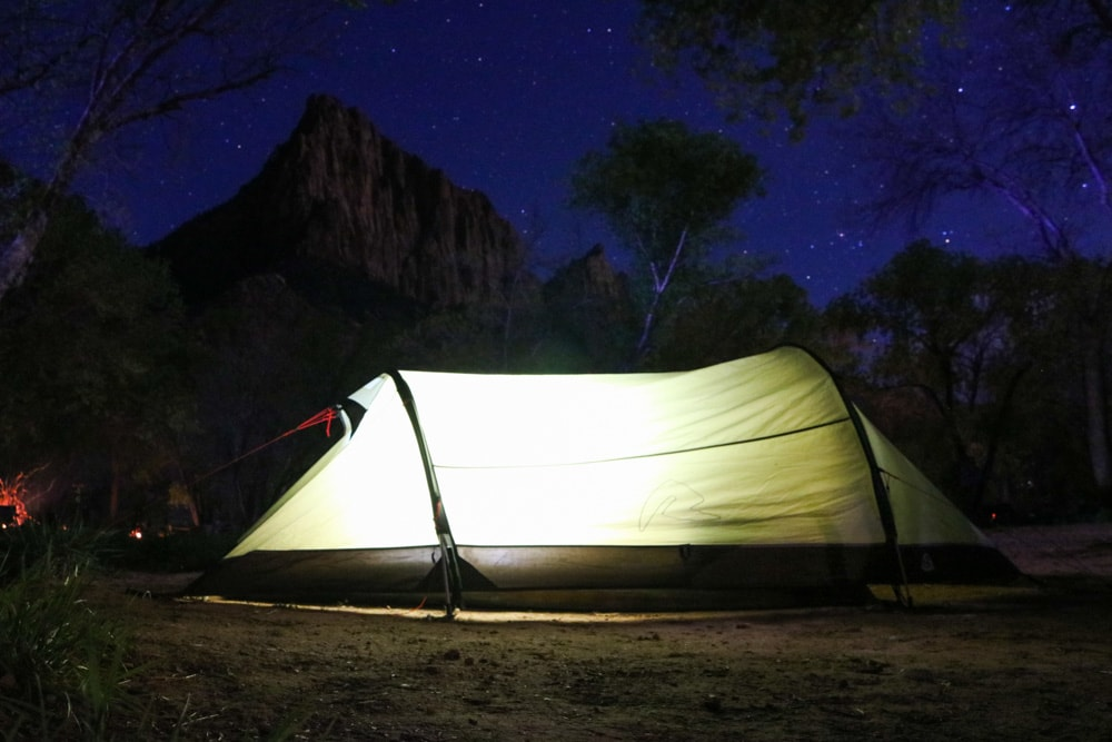 Tent at night, South Campground, Zion National Park
