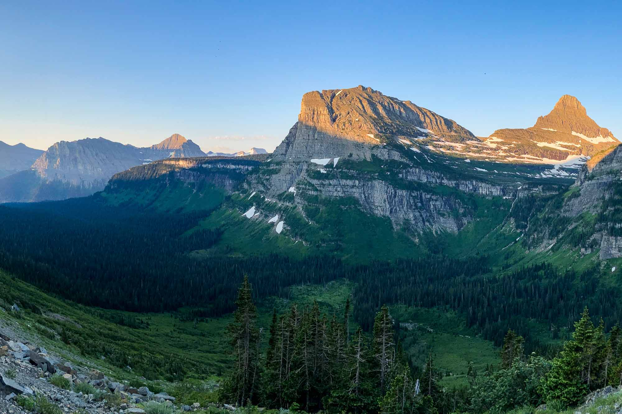 Going-to-the-Sun Road viewpoint in Glacier National Park, Montana, UNESCO World Heritage Site